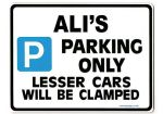 ALI'S Personalised Gift |Unique Present for Him | Parking Sign - Size Large - Metal faced